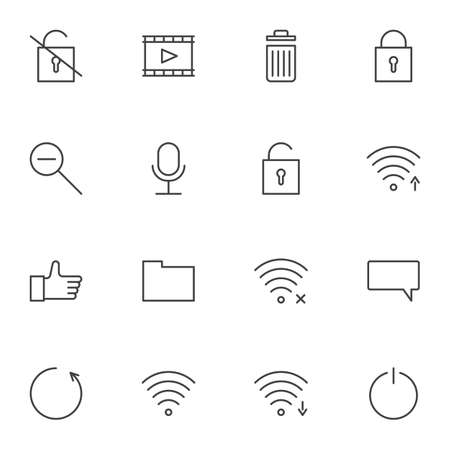 User interface line icons set, ui outline vector symbol collection, linear style pictogram pack. Signs, logo illustration. Set includes icons as wifi antenna, wireless connection signal, chat comment