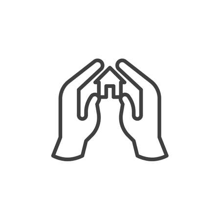 Hands with home line icon. linear style sign for mobile concept and web design. Home protection outline vector icon. Symbol,   illustration. Vector graphics