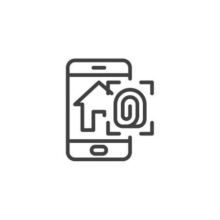 Smart home fingerprint security line icon. linear style sign for mobile concept and web design. Smartphone with smart home security system outline vector icon. Symbol  illustration. Vector graphic