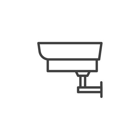 Security surveillance camera line icon. linear style sign for mobile concept and web design. CCTV camera outline vector icon. Symbol,   illustration. Vector graphics Illustration