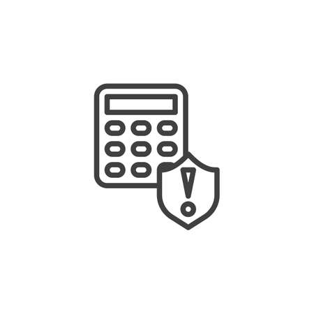 Smart home security system alert line icon. linear style sign for mobile concept and web design. Remote control protection shield outline vector icon. Symbol,   illustration. Vector graphics Illustration