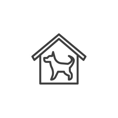 Home security dog line icon. linear style sign for mobile concept and web design. House with dog outline vector icon. Symbol,   illustration. Vector graphics Illustration