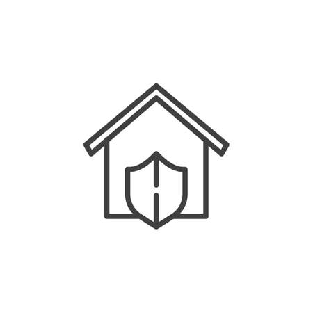 Home security shield line icon. linear style sign for mobile concept and web design. House protection outline vector icon. Symbol,   illustration. Vector graphics