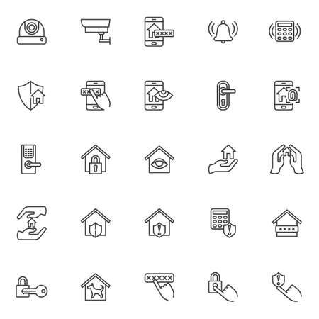 Smart home security system line icons set. linear style symbols collection, outline signs pack. vector graphics. Set includes icons as cctv camera, smart door security password, wireless lock and key