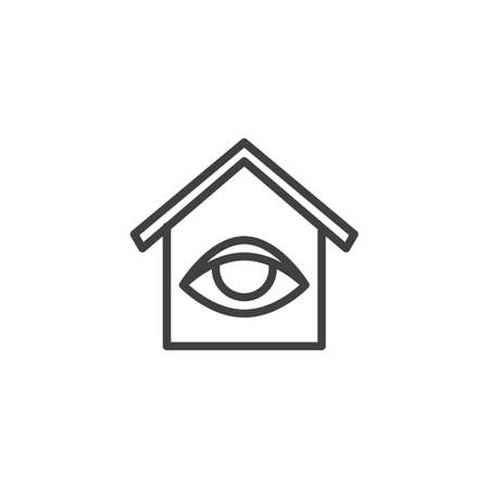 Smart home monitoring line icon. linear style sign for mobile concept and web design. Home surveillance outline vector icon. Symbol, logo illustration. Vector graphics