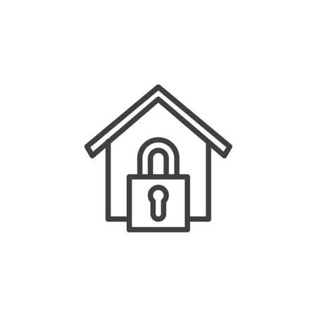 Home lock line icon. linear style sign for mobile concept and web design. Home security lock outline vector icon. Symbol,   illustration. Vector graphics