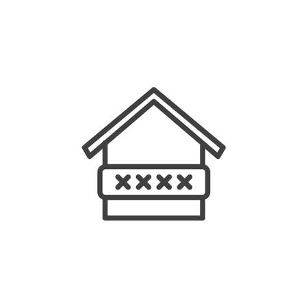 Home protection password line icon. linear style sign for mobile concept and web design. Smart home security code outline vector icon. Symbol,   illustration. Vector graphics