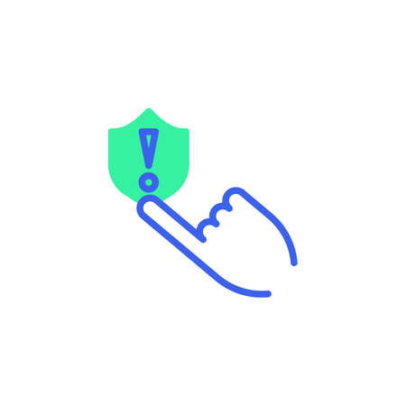 Hand press protection shield icon vector, filled flat sign, security system warning bicolor pictogram, green and blue colors. Symbol, logo illustration
