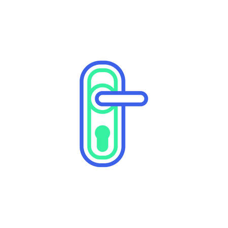 Door handle with keyhole icon vector, filled flat sign, door handle bicolor pictogram, green and blue colors. Symbol, logo illustration Illustration