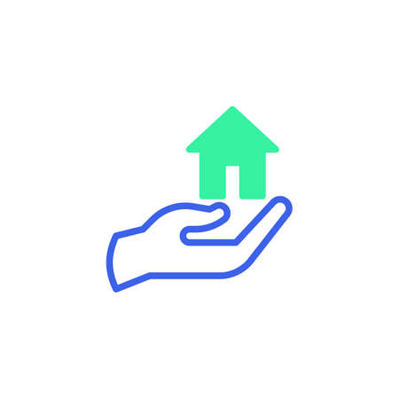 Hand with home icon vector, filled flat sign, home protection bicolor pictogram, green and blue colors. Symbol, logo illustration