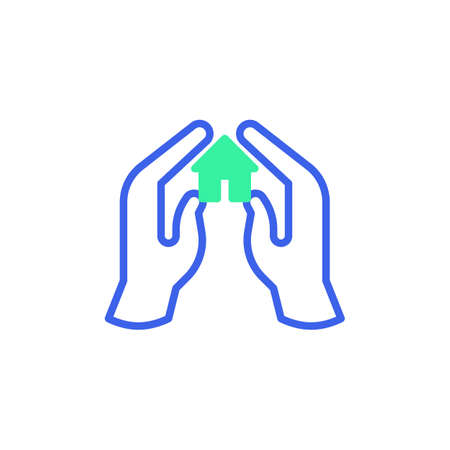 Home protection icon vector, filled flat sign, hands with home bicolor pictogram, green and blue colors. Symbol, logo illustration Illustration