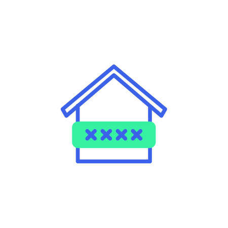 Smart home security code icon vector, filled flat sign, home protection password bicolor pictogram, green and blue colors. Symbol, logo illustration