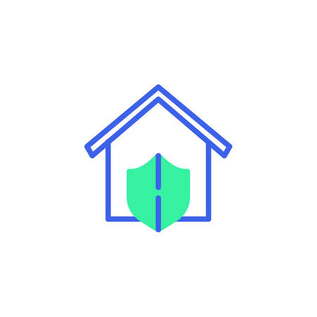 House protection icon vector, filled flat sign, home security shield bicolor pictogram, green and blue colors. Symbol, logo illustration