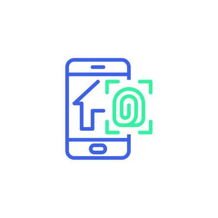 Smartphone with smart home security system icon vector, smart home fingerprint security filled flat sign, bicolor pictogram, green and blue colors. Symbol, logo illustration Illustration