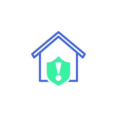 Home protection shield warning icon vector, filled flat sign, home security warning bicolor pictogram, green and blue colors. Symbol, logo illustration