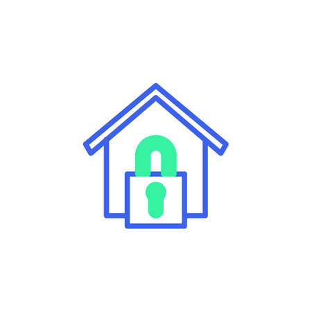 Home security lock icon vector, filled flat sign, home lock bicolor pictogram, green and blue colors. Symbol, logo illustration Illustration