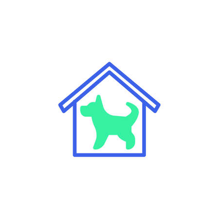House with dog icon vector, filled flat sign, home security dog bicolor pictogram, green and blue colors. Symbol, logo illustration