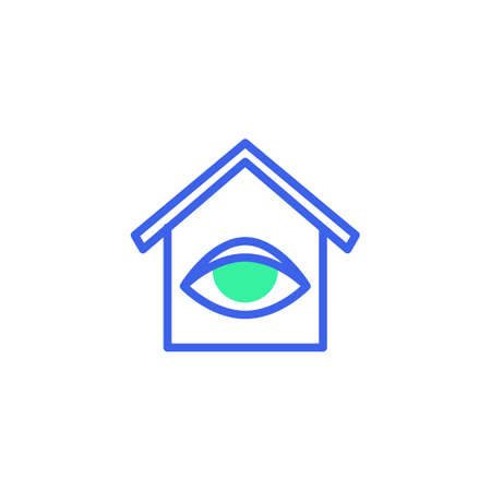 Home surveillance icon vector, filled flat sign, smart home monitoring bicolor pictogram, green and blue colors. Symbol, logo illustration