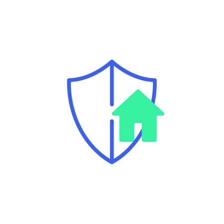 Smart home security icon vector, filled flat sign, smart home protection shield bicolor pictogram, green and blue colors. Symbol, logo illustration Illustration