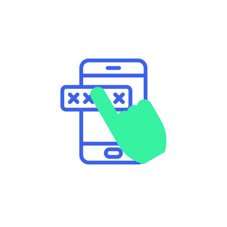 Entering password on smartphone screen icon vector, mobile phone security filled flat sign, bicolor pictogram, green and blue colors. Symbol, logo illustration
