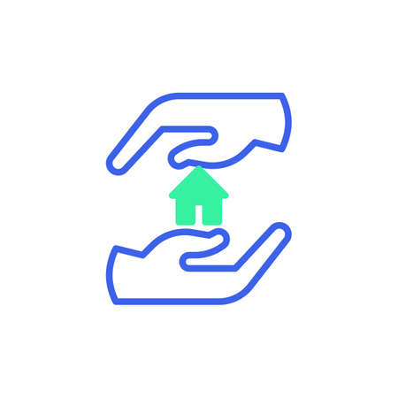 Hand holding home icon vector, filled flat sign, safe home bicolor pictogram, green and blue colors. Symbol, logo illustration Illustration