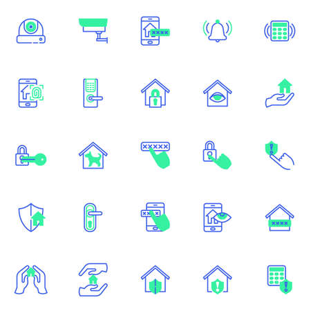 Smart home security vector icons set, modern solid bicolor symbol collection, filled style pictogram pack. Signs, logo illustration. Set includes icons as cctv camera, smart door security password