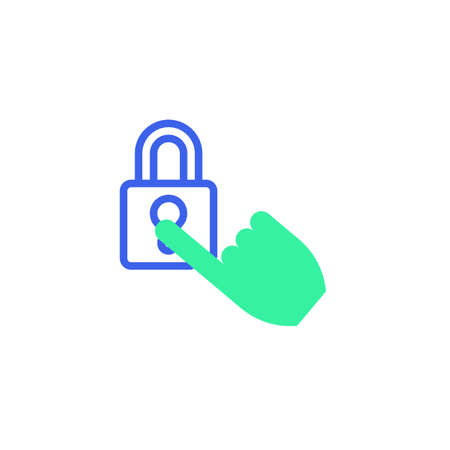 Security padlock protection icon vector, filled flat sign, hand and security lock bicolor pictogram, green and blue colors. Symbol, logo illustration Illustration