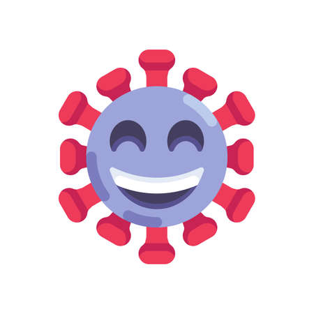 Happy coronavirus emoticon flat icon, vector sign, beaming face with smiling eyes colorful pictogram isolated on white. Symbol, logo illustration. Flat style design