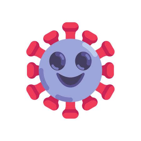 Happy coronavirus emoticon flat icon, vector sign, slightly smiling face emoji colorful pictogram isolated on white. Symbol, logo illustration. Flat style design