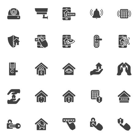 Smart home security system vector icons set, modern solid symbol collection, filled style pictogram pack. Signs, logo illustration. Set includes icons as cctv camera, smart door security password Logo
