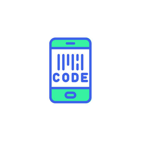 Cell Phone screen with barcode icon vector, filled flat sign, smartphone barcode scan bicolor pictogram, green and blue colors. Symbol,   illustration