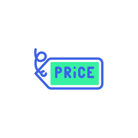 Price label icon vector, filled flat sign, bicolor pictogram, price tag green and blue colors. Symbol,   illustration