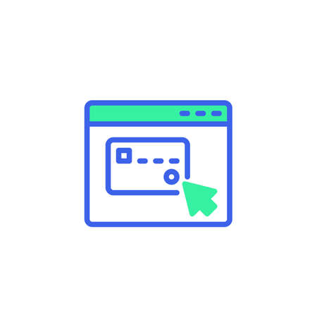 Website with credit card pay icon vector, filled flat sign, online shopping payment bicolor pictogram, green and blue colors. Symbol,   illustration