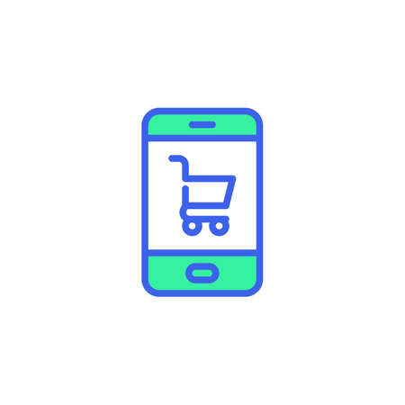 Mobile phone and shopping cart icon vector, filled flat sign, online shopping bicolor pictogram, green and blue colors. Symbol,   illustration