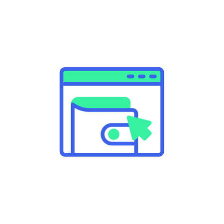 Website page with payment click icon vector, filled flat sign, online wallet payment bicolor pictogram, green and blue colors. Symbol,   illustration