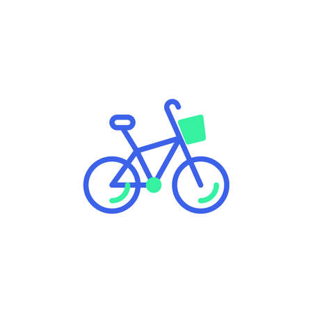Bicycle with basket icon vector, filled flat sign, delivery bicycle bicolor pictogram, green and blue colors. Symbol,   illustration Illusztráció