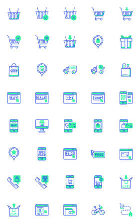 Shopping and e-commerce vector icons set, modern solid bicolor symbol collection, filled style pictogram pack. Signs,   illustration. Set includes icons as parcel delivery service, one click buy Illusztráció