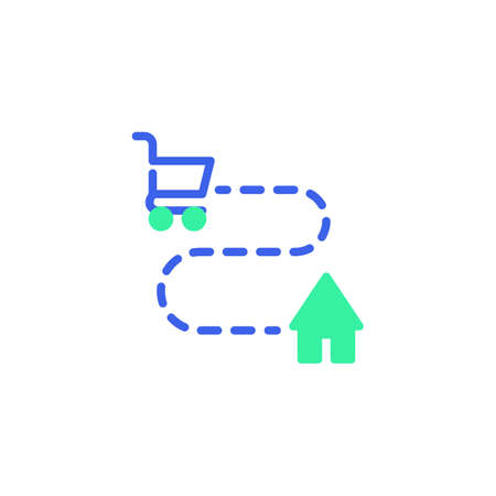 Delivery tracking icon vector, filled flat sign, shopping cart and home bicolor pictogram, green and blue colors. Symbol,   illustration Illusztráció