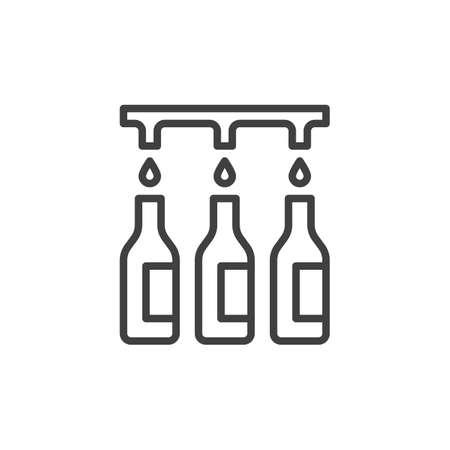 Wine bottling line icon.  イラスト・ベクター素材