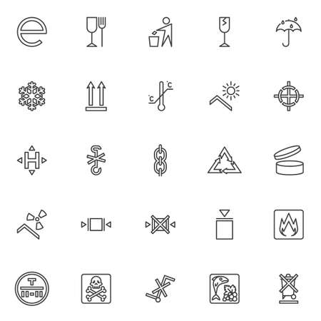 Packaging signs line icons set. linear style symbols collection, outline signs pack. vector graphics. Set includes icons as estimated, fragile, limitation, recyclable materials, product durability