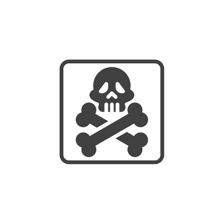 Acute toxicity, packaging sign vector icon. filled flat sign for mobile concept and web design. Skull and crossbones glyph icon. Symbol, logo illustration. Vector graphics  イラスト・ベクター素材