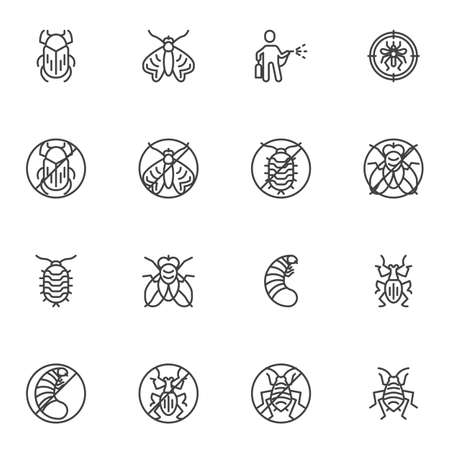 Pest animals line icons set, outline vector symbol collection, linear style pictogram pack. Set includes icons as termite insect, flea, cockroach, fly, bug, moth Vector Illustration