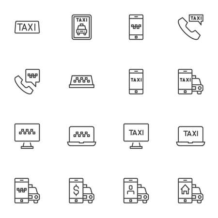 Online taxi ordering line icons set, outline vector symbol collection, linear style pictogram pack. Set includes icons as taxi service, online booking