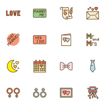 Wedding Marriage filled outline icons set, line vector symbol collection, linear colorful pictogram pack. Set includes icons as love, marry me, invitation card, calendar day