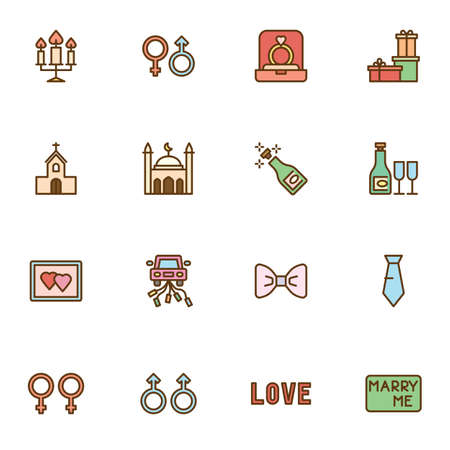 Marriage and Wedding filled outline icons set, line vector symbol collection, linear colorful pictogram pack.