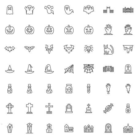 Happy Halloween line icons set. linear style symbols collection, outline signs pack. vector graphics. Set includes icons as scary ghost, angry pumpkin, flying bat, spider, haunted house, cemetery gate Vettoriali