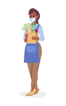 Woman with grocery food bag wearing medical mask vector illustration. Coronavirus protection, safety and pandemic concept. Female worker in a face mask flat style design. Colorful graphics