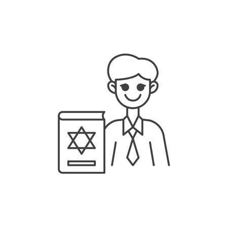 Jewish religious teacher line icon. linear style sign for mobile concept and web design. Man teacher and book with david star outline vector icon. Symbol, logo illustration. Vector graphics