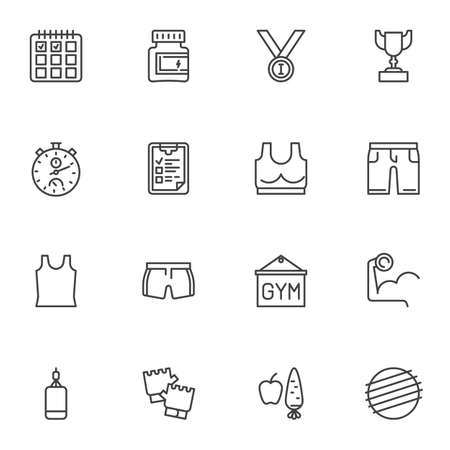 Healthy lifestyle line icons set, gym outline vector symbol collection, linear style pictogram pack. Signs, logo illustration. Set includes icons as sport training, calendar, diet food, stopwatch  イラスト・ベクター素材