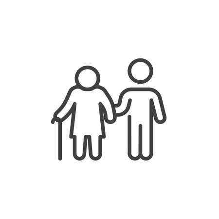 Disabled person and volunteer line icon. linear style sign for mobile concept and web design. Volunteer man caring for elderly woman outline vector icon. Symbol, logo illustration. Vector graphics